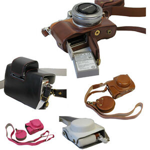 PU Leather Camera Bag Cover Case For Olympus EPL8 E-PL8 Bottom Opening