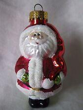 Unique Treasures Santa Hand Crafted Glass Ornament With Glitter