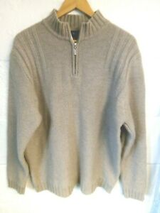 """Austin Reed pale brown zip neck chunky knit wool jumper XL/44""""-46""""Chest"""