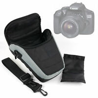 Portable Black & Silver Carry Case with Shoulder Strap for Canon 1300D Camera
