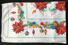 Vintage Christmas Holiday Rectangular Tablecloth 79x63 Ornaments Poinsettia MCM