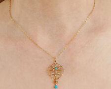 Affascinante Antico Vittoriano 9 KT GOLD Turchese & Collana con pendente perla c1895
