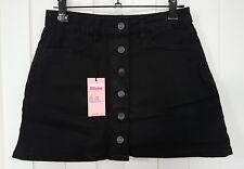 Supre Bel Air Button Through Washed black denim mini Skirt- Size 6 - BNWT