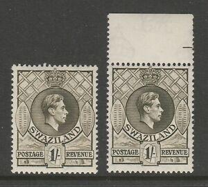 Swaziland 1938-54 George VI 1/- Olive & Grey-olive shades CW 8 & 8a Mnh.