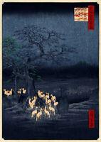 Ando Utagawa Hiroshige: New Year's Eve Foxfires at the Changing Tree, Oji. Print