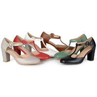 Brinley Co Womens T-strap Chunky Heel Round Toe Classic Matte Pumps New