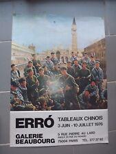 AFFICHE ORIGINALE exposition ERRO tableaux chinois 1976   AF214