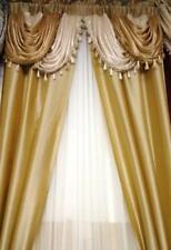 Luxurious AMORE Panel w attached valance 5 pc.window curtain set  Gold