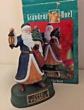 "Santa of the World France ceramic Figurine Grandeur Noel w/Box 9.5"" blue coat"
