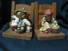 Hummel Wooden Bookends Boy/Rabbits, Girl/Chicks From Germany Chip on Boy's Hat