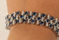 Blue And White Diamond Bracelet In 14k Gold Bangle Bracelets