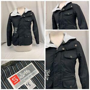 Sims Winter Jacket Sz XS Black Ski Snowboard Full Zip Lined Mint YGI RE1696