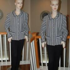 STUNNING  ST. JOHN KNIT COLLECTION BLACK MULTI  NOVELTY KNIT JACKET ZIP UP SZ 16