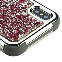 FOR APPLE IPHONE XS X | PINK GREY CRYSTAL BLING SHOCKPROOF CASE TUFF COVER