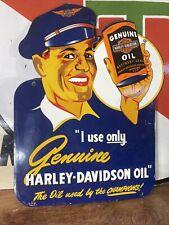 """New ListingVintage """"Harley-Davidson"""" Gas & Oil Dealer Plate Heavy Porcelain Sign 13X18 In."""