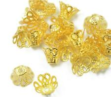50 Gold-plated little flower Loose bead caps beads findings for DIY