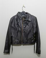 Womens Protech Vintage Motorcycle Cropped Leather Jacket Size 16 Black