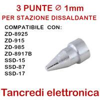 3x PUNTE N5-2 UGELLO Ø 1mm PER PISTOLA STAZIONE ZD-8925 ZD-915 ZD-985 ZD-8917B