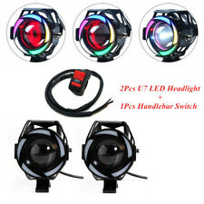 Multi-color LED Motorcycle Headlight Spot Lamp Projector Lens w/Handlebar Switch