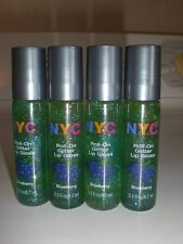 Lot of 4 NYC Glitter Roll On Lip Gloss Blueberry 606A Sparkling Shine Flavor NEW