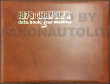 1978 Chrysler Data Book Dealer Album Imperial New Yorker Newport Facts Features