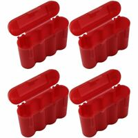 4 RED AA AAA BATTERY BATTERY PLASTIC STORAGE CASE HOLDER BOX USA SHIP