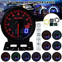 Tachometer RPM Gauge Meter 10 Color LED Tinted Face Universal 2 Inch 52 mm