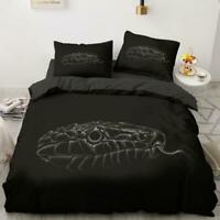 3D Black Snake Head Tongue KEP5646 Bed Pillowcases Quilt Duvet Cover Kay