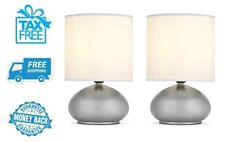 "New 2pk Mini 9"" Metal Touch Accent Lamps Bedside Table Light Bedroom Lighting"