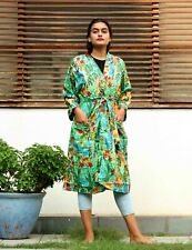 Frida Kahlo Print Bathrobe Free Size Sleepwear Mint Green Color Nightwear Gown