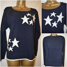 NEW NEXT WOMENS STAR PRINT COSY KNIT JUMPER TOP SWEATER NAVY IVORY SUMMER 6 - 20
