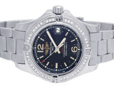 Custom Breitling Lady Colt 33 Stainless Steel Blue Dial Diamond Watch A77388 1Ct