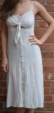 TOPSHOP STAR POLKA DOT CUT OUT 1950s VINTAGE STYLE TIE FRONT DRESS PETITE 8 NEW