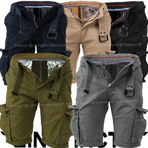 Bermuda Uomo Cargo Shorts Tasche Laterali Pantaloni Corti Multi-tasche Cintura