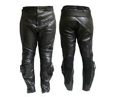 Pantalone Moto in Pelle.mod. 9200 Nero-Protezioni/CE
