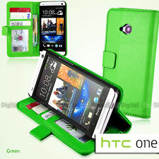 GREEN Premium Wallet Flip Stand Leather Case Cover F HTC ONE M7 810e +SP +Stylus