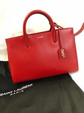 New Auth SAINT LAURENT PARIS Cabas Rive Gauche 400413 Red Leather Women Handbag