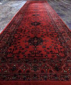 JOHN LEWIS AFGHAN Persiian Wool Runner 274 x 70cm Royal Keshan Red 9ft x 2.3ft