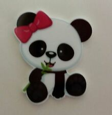 Flat Back Resins (Lot of 2 for $1.50) Cute Baby Panda Bear with Pink Hair Bow