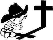 Cowboy praying decal sticker ute BNS truck car van 12 x 16.5 cm