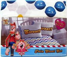 Candy Crush Twin Sheet Set Two Sheets Plus Pillowcase Cotton Rich Licensed