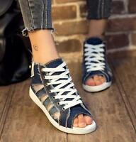 Womens Sandals Flats Retro Toe Lace Up Hollow Out Denim High Top Shoes