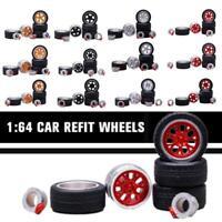1:64 Rims Tire Vehicle Modified Rubber Alloy Car Refit Wheels