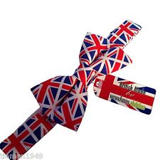British Made  Union Jack Pre Tied Bow Tie with Adjustable Neckband Patriotic UK