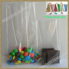 "100pcs 3""x5"" clear cello bag for gift candy + twist tie"