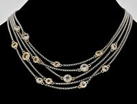 """Vintage 5 Strand Chain Two toned Statement Necklace Estate Jewelry 18"""""""