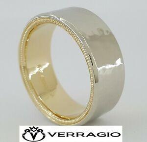 Verragio VW-7012 14K Yellow & White Gold Mens Ring Band 7 mm Hammered Rtl $2,050