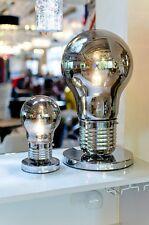 Sml fumé géant ampoule lampe de table argent base moderne funky metal wire light