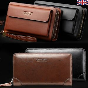 Mens Long Wallet Leather Zip Purse Large Business ID Credit Card Clutch Bag New