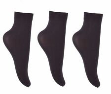 3 pairs 40 Denier Ladies Soft Opaque Ankle High Trouser Pop Socks Anklets Socks